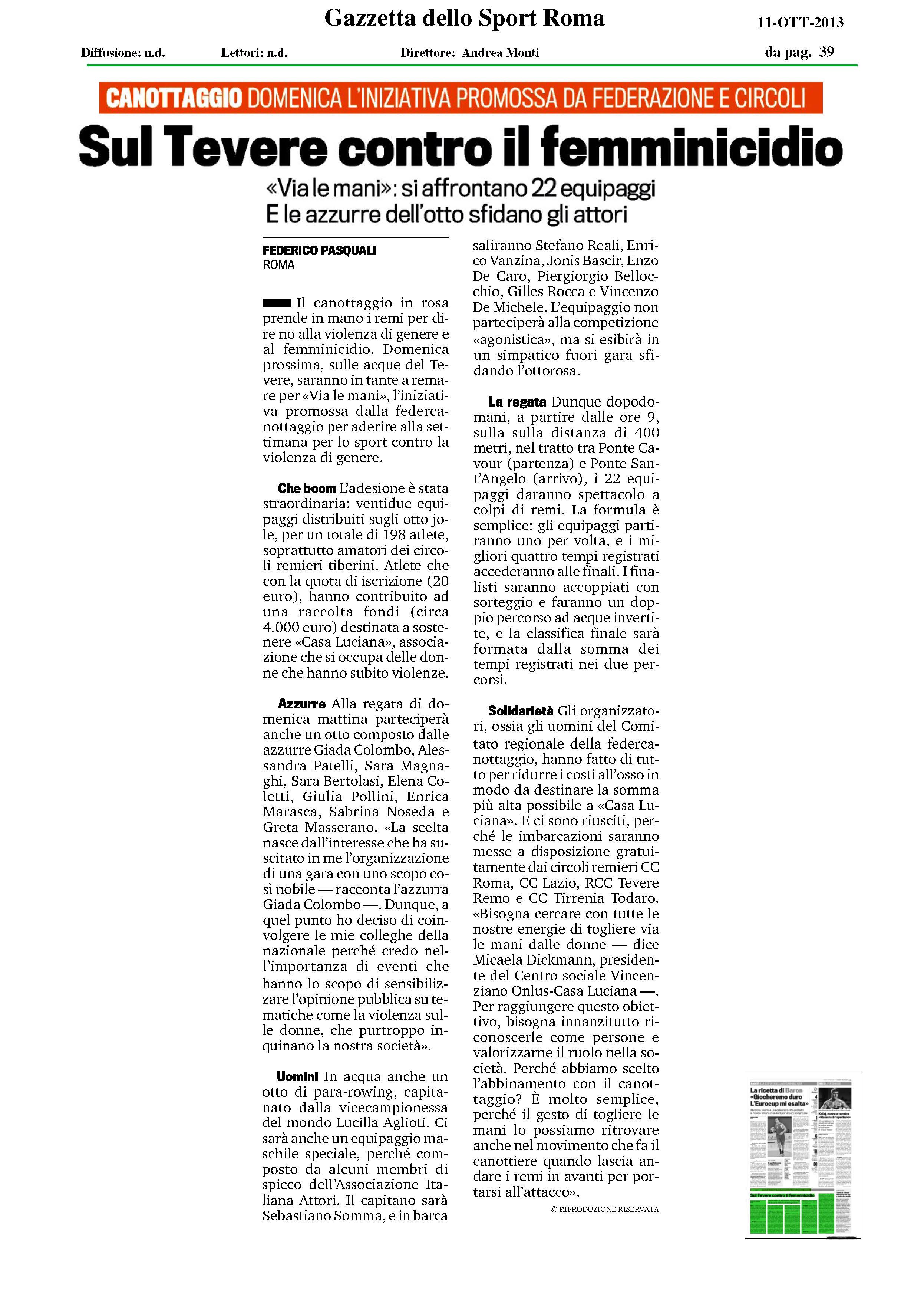 Gazzetta dello Sport - Sul tevere contro il femminicidio