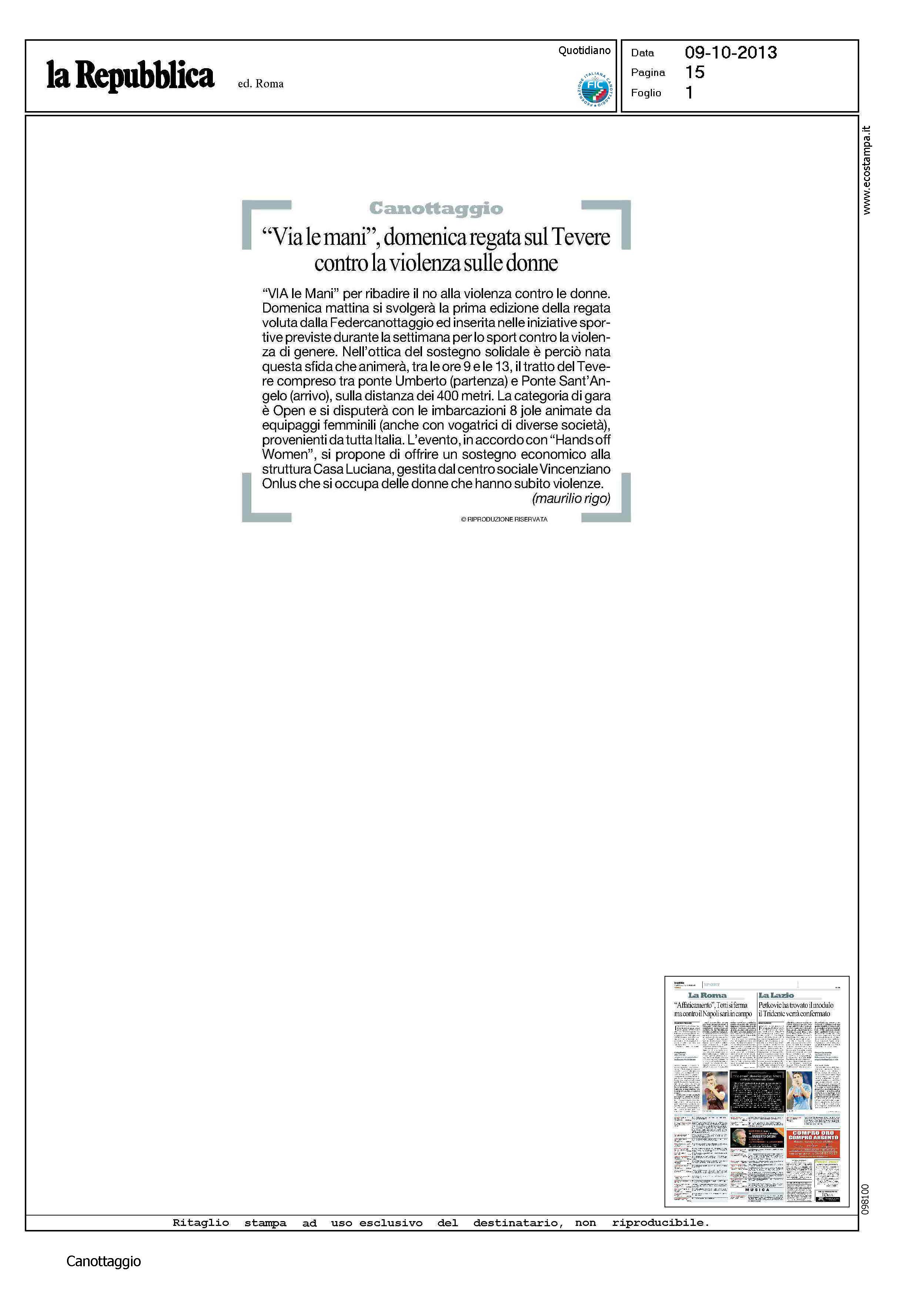 La Repubblica - Via le mani domenica regata sul Tevere contro la violenza sulle donne